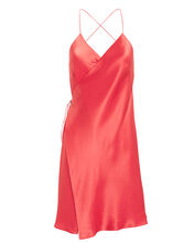 Strappy Silk Wrap Dress, CORAL, hi-res