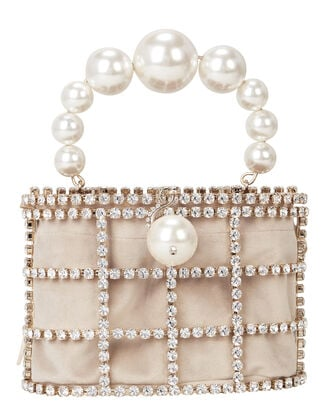 Cage Me Pearl and Crystal Clutch, GOLD, hi-res