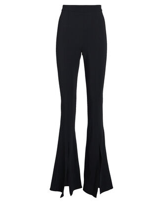 Flared Slit Crepe Trousers, BLACK, hi-res