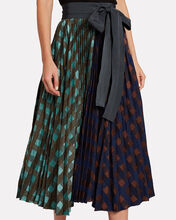 Dianella Mixed Check Pleated Skirt, BLUE/ORANGE CHECK, hi-res