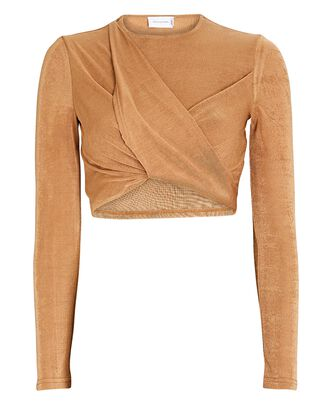 Evelyn Twisted Knit Crop Top, BEIGE, hi-res