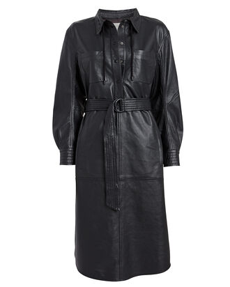 Hazel Leather Shirt Dress, BLACK, hi-res
