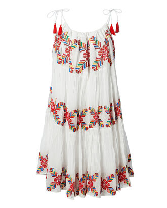 Multi Embroidered White Dress, MULTI, hi-res