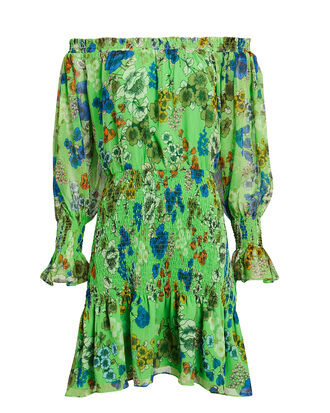 Malina Off Shoulder Smocked Dress, GREEN FLORAL, hi-res