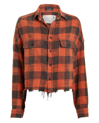 Cropped Plaid Work Shirt, MULTI, hi-res