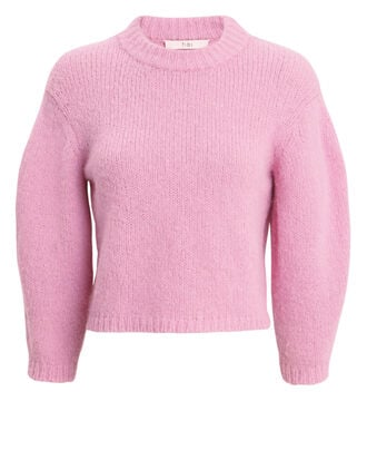Textured Crop Pink Sweater, PINK, hi-res