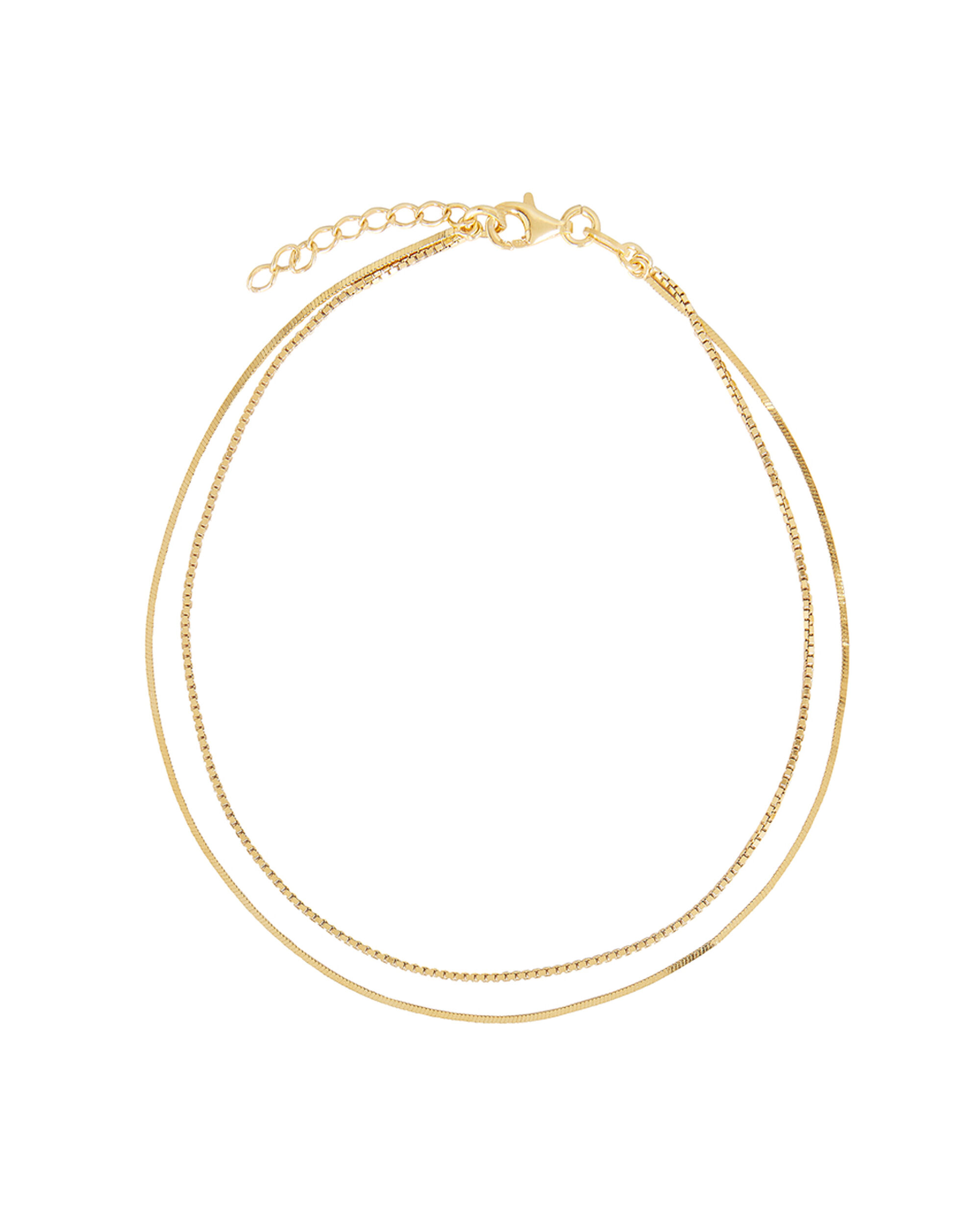 Double Chain Anklet, GOLD, hi-res