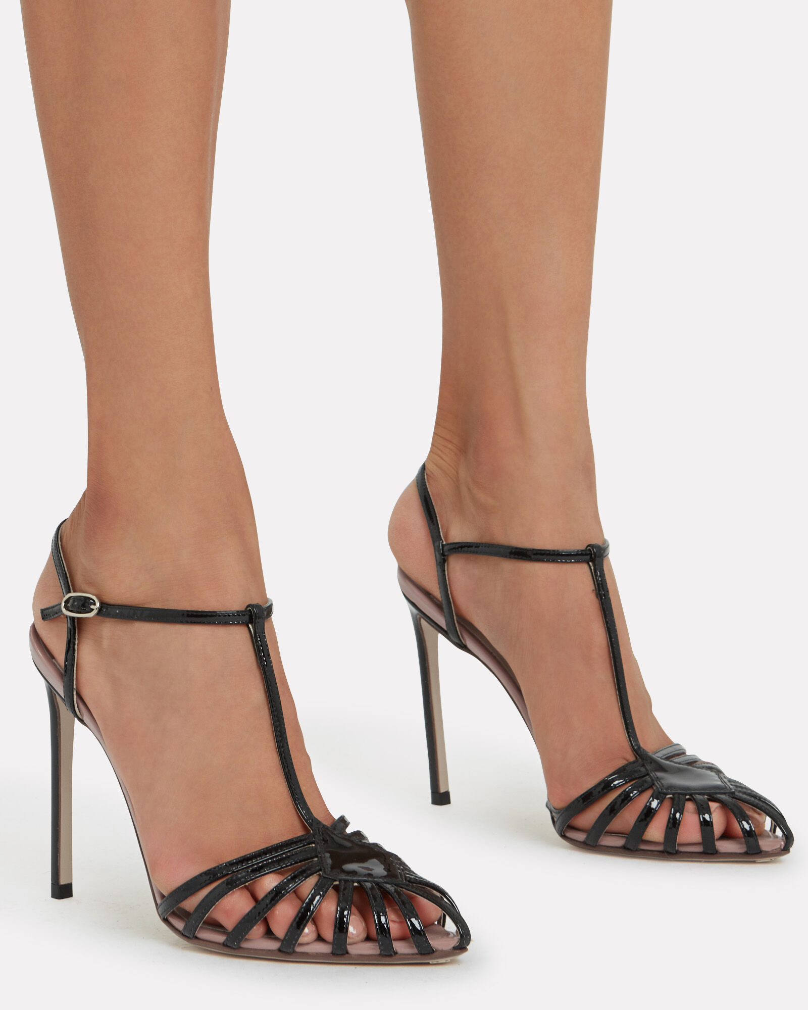 T-Strap Leather Stiletto Sandals, BLACK, hi-res