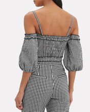 Puff Sleeve Gingham Bustier Top, BLK/WHT, hi-res