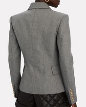 Double-Breasted Flannel Blazer, GREY, hi-res