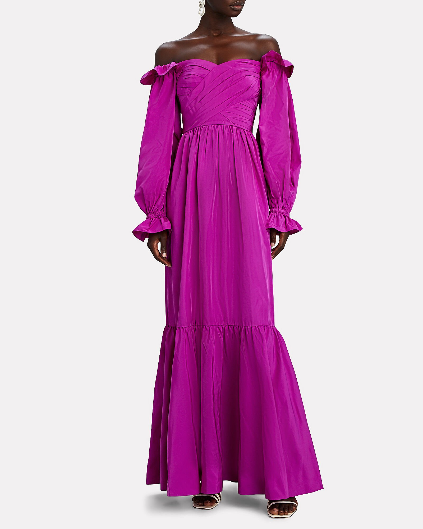 Taffeta Off-the-Shoulder Gown, PURPLE, hi-res