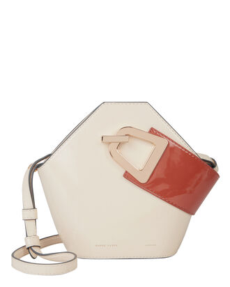 Mini Johnny Leather Clutch, IVORY/BURNT ORANGE, hi-res