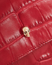 Croc-Embossed Envelope Clutch, RED, hi-res