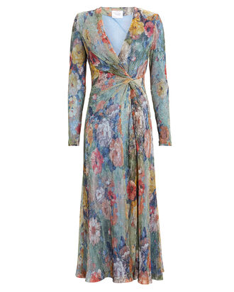 Plissé Floral Knit Midi Dress, BLUE/FLORAL, hi-res