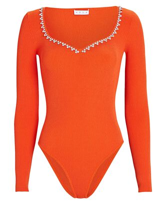 Crystal-Embellished Rib Knit Bodysuit, ORANGE, hi-res