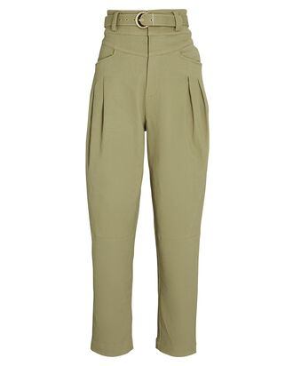 Damia Tapered High-Rise Pants, GREEN, hi-res