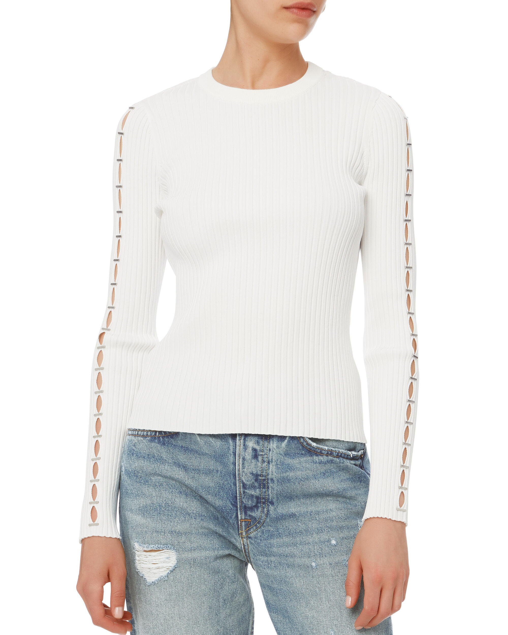 Staple Detail Knit Top, WHITE, hi-res