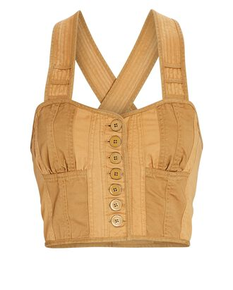 Jesse Military Suiting Bustier Top, BEIGE, hi-res