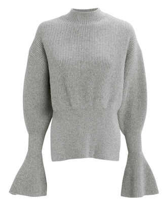 Engineered Sleeve Sweater, GREY, hi-res