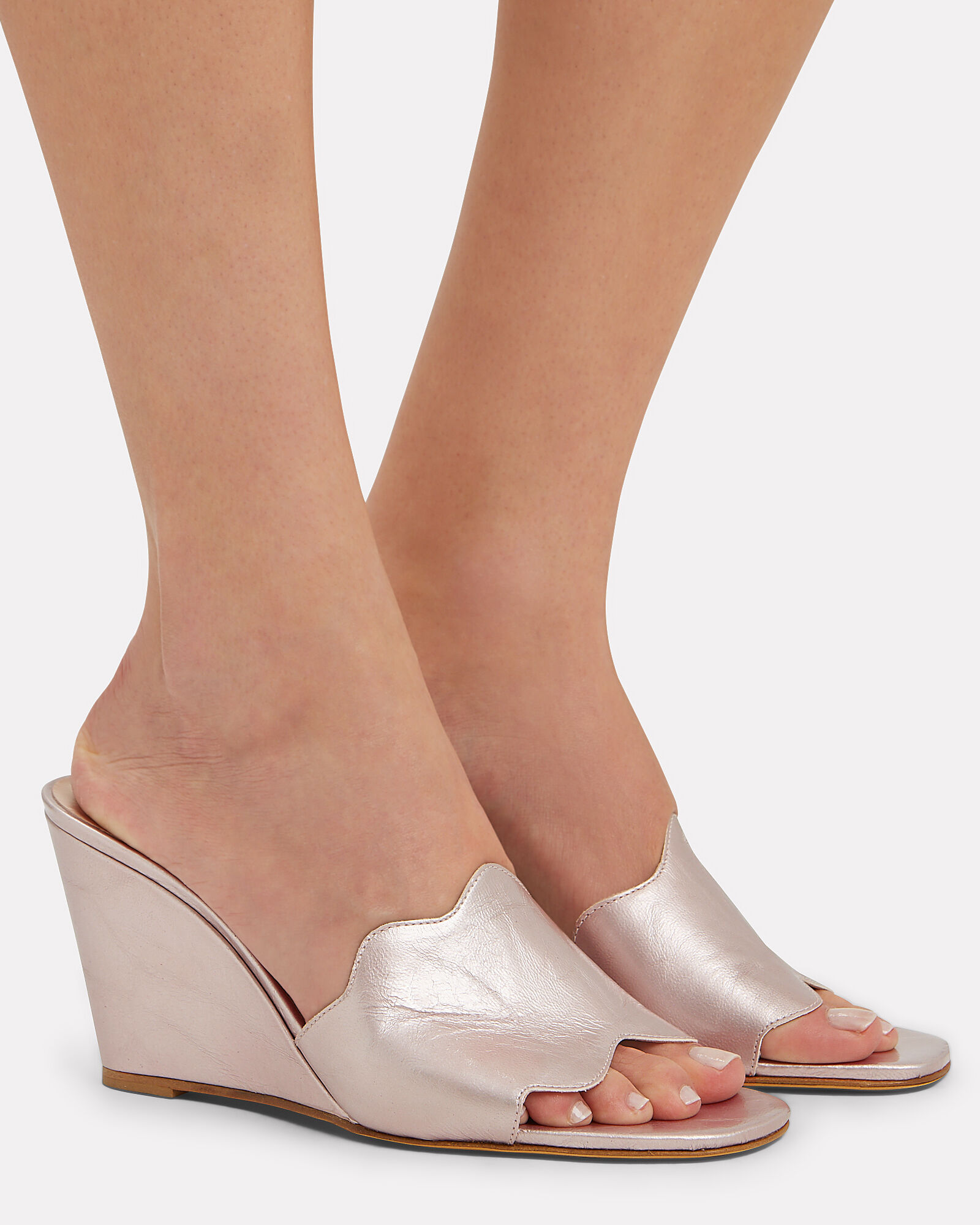Scallop Strap Leather Wedges, GOLD, hi-res
