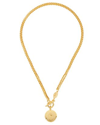 Double Chain-Link Locket Necklace, GOLD, hi-res