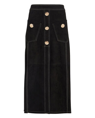 Balton Suede Midi Skirt, BLACK, hi-res
