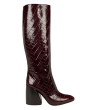 Wave Croc-Embossed Boots, BURGUNDY, hi-res