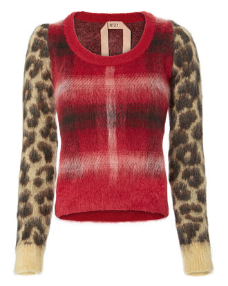 Plaid Leopard Print Sweater, RED, hi-res