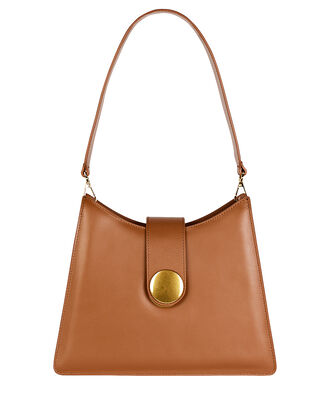 Cat Volcano Leather Shoulder Bag, BROWN, hi-res