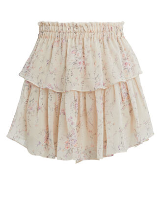 Tiered Mini Skirt, IVORY/PINK FLORAL, hi-res