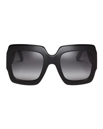 Glittered Rubber Temple Black Square Sunglasses, BLACK, hi-res