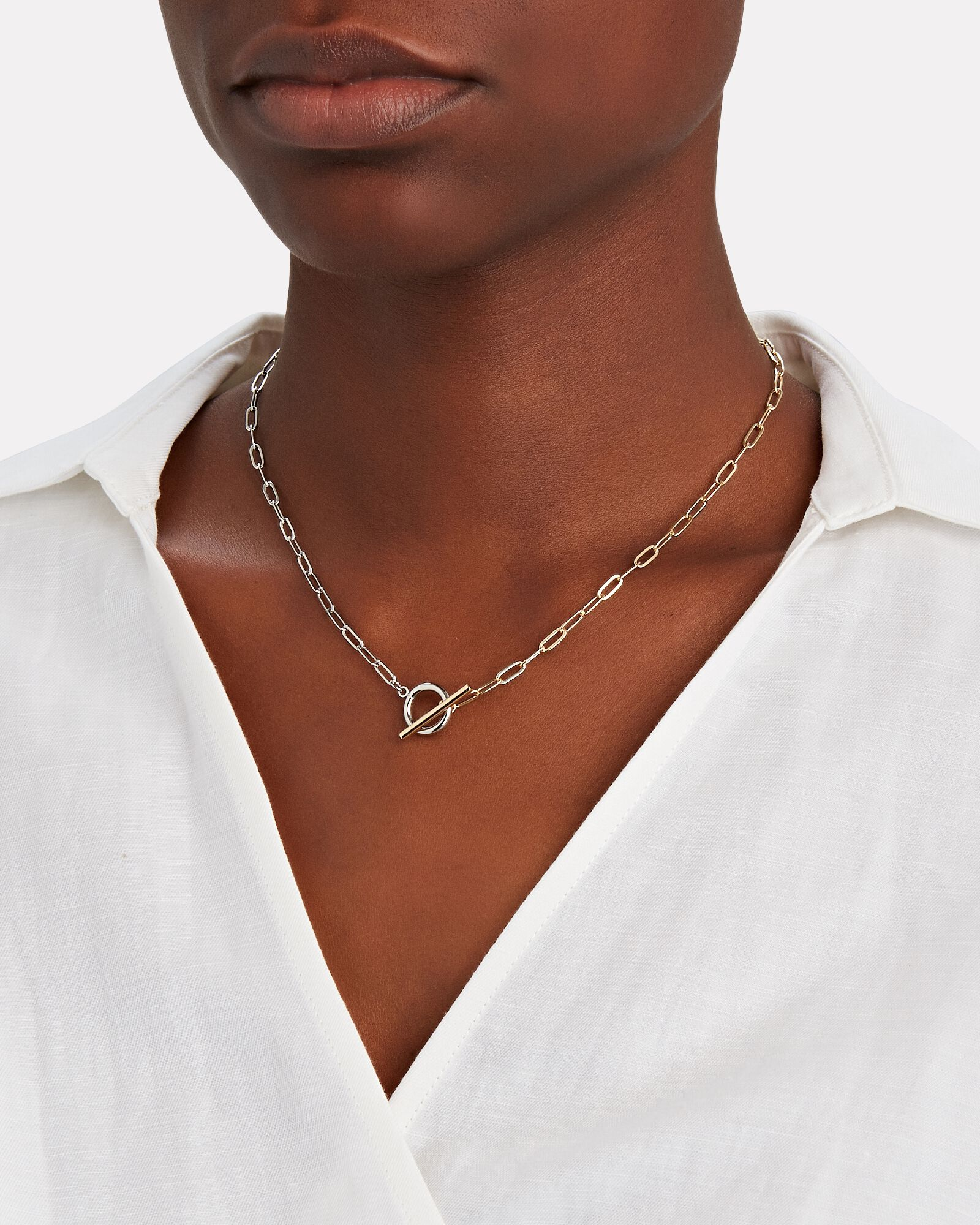 Patron Remix Two-Tone Toggle Necklace, SILVER/GOLD, hi-res