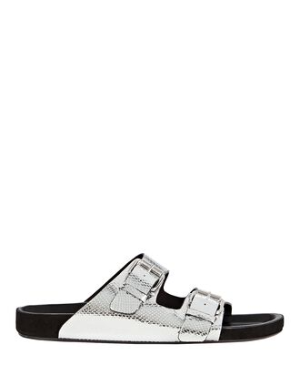 Lennyo Metallic Leather Slide Sandals, SILVER, hi-res