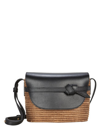 Sisal Leather-Trimmed Wicker Crossbody, BROWN, hi-res