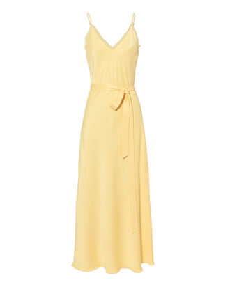 Satin Tie Slip Dress, YELLOW, hi-res