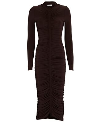 Ansel Ruched Jersey Dress, BROWN, hi-res