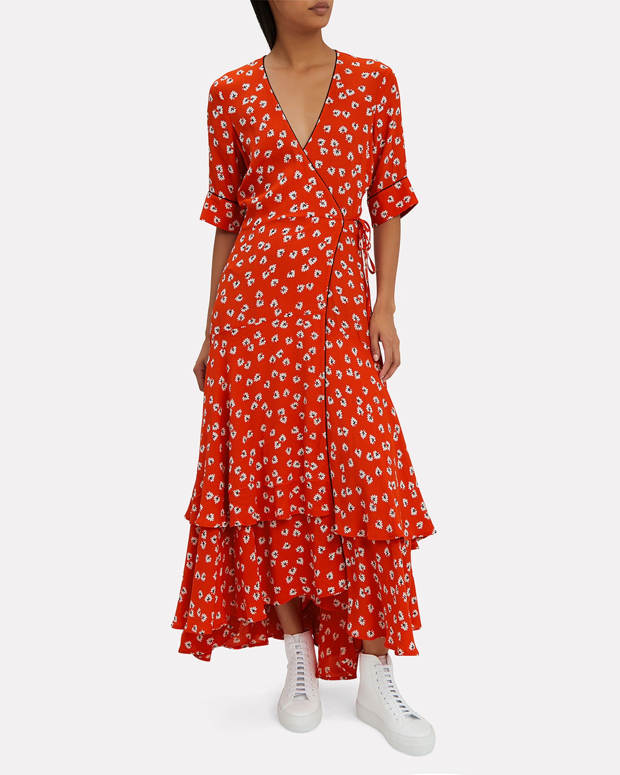 Big Apple Red Ruffle Hem Dress, RED, hi-res