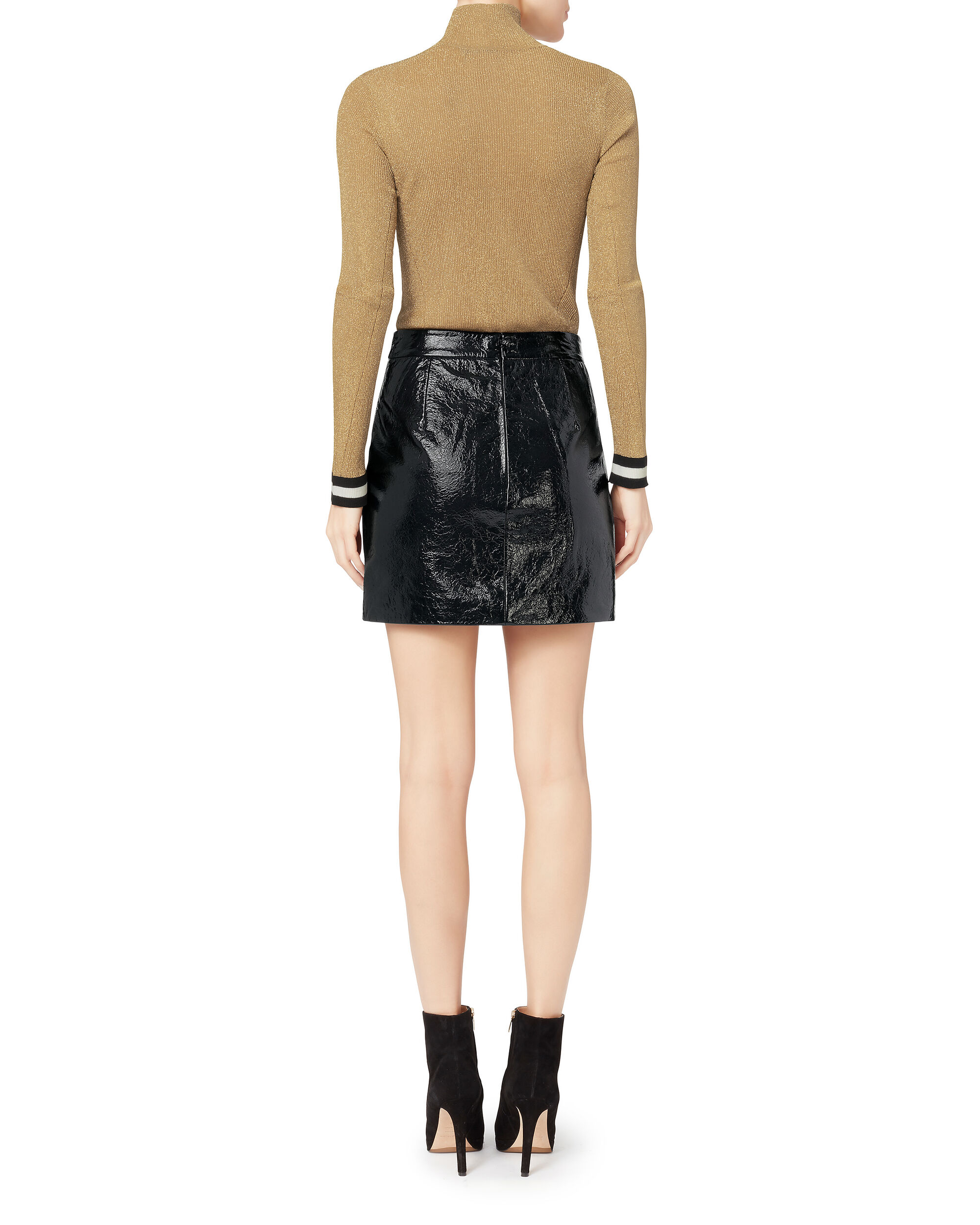 Double Zip-Up Patent Leather Skirt, BLACK, hi-res