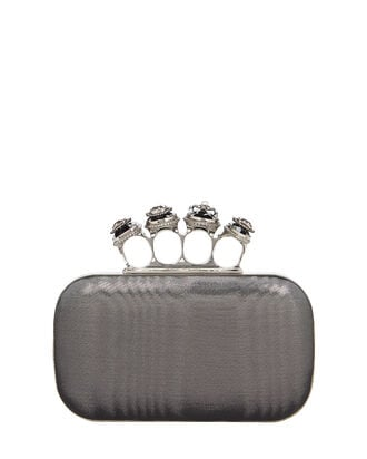 Four Ring Metallic Clutch, GUNMETAL, hi-res