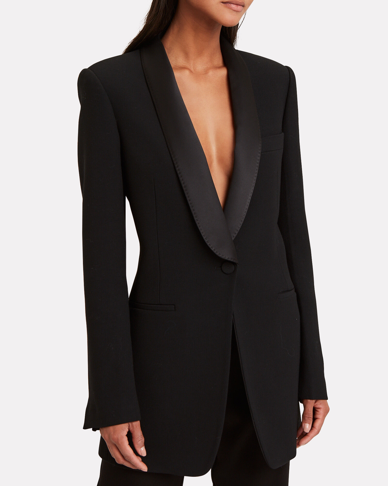 Rounded Lapel Suiting Blazer, BLACK, hi-res