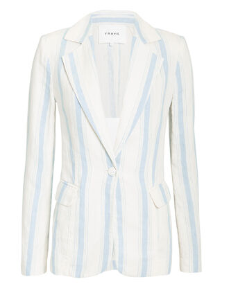 Striped Blazer, IVORY/LIGHT BLUE, hi-res
