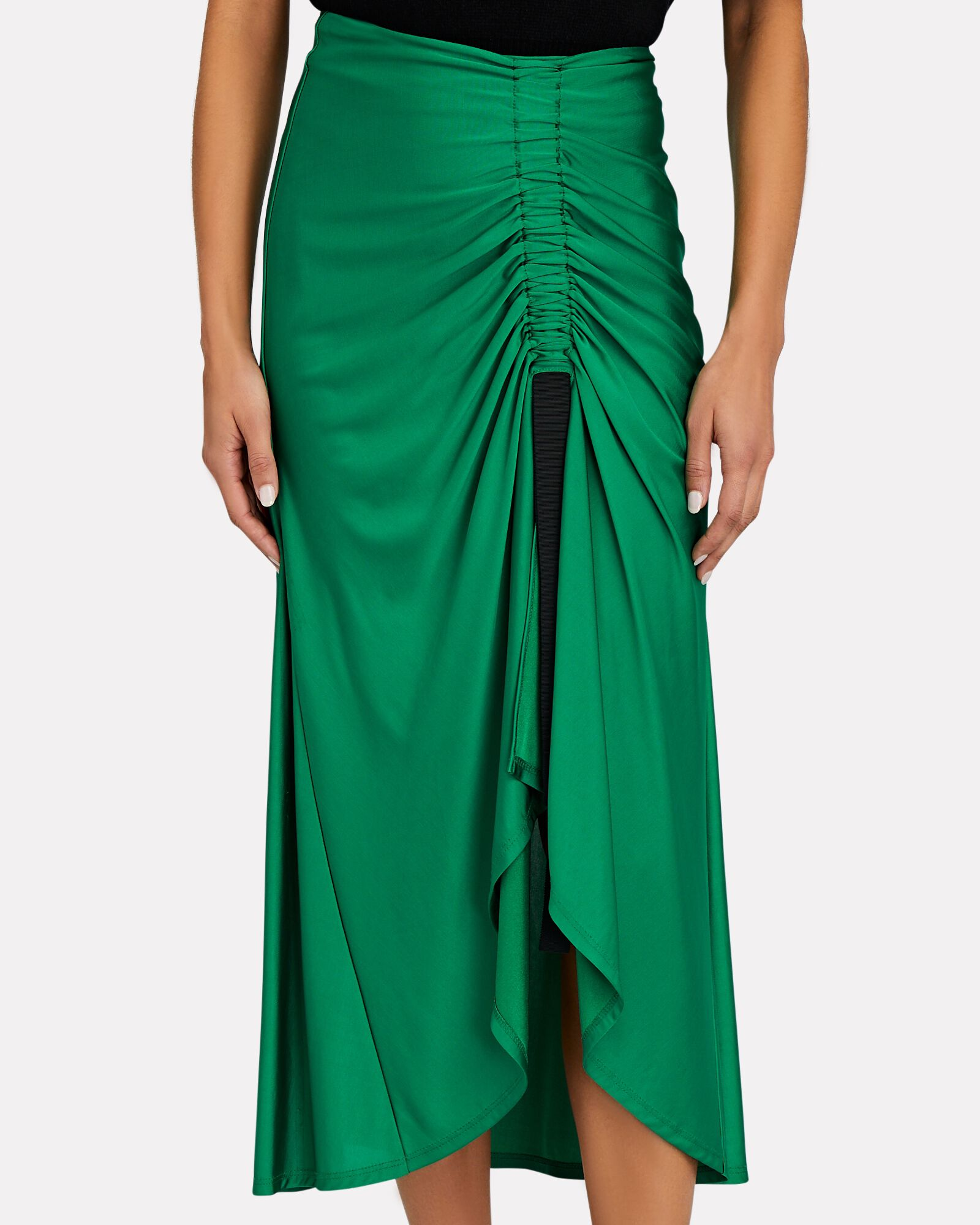 Didi Front Slit Midi Skirt, GREEN, hi-res