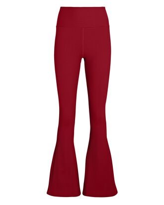 Flared Rib Knit Leggings, RED, hi-res
