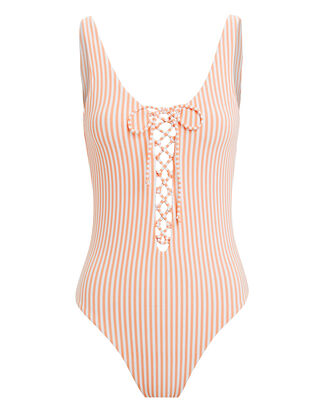 Bridget Lace-Up One Piece Swimsuit, WHITE/ORANGE, hi-res