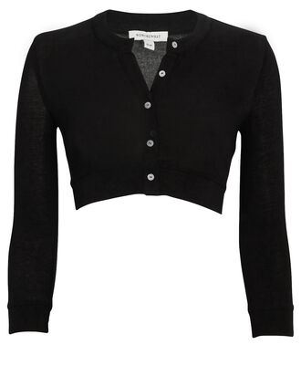Cropped Crewneck Cardigan, BLACK, hi-res