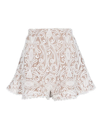 Barron White Lace Shorts, WHITE, hi-res