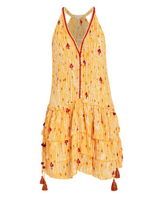 Bety Sleeveless Floral Dress, MARIGOLD/RED, hi-res
