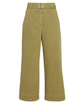 Belted Washed Cotton Pants, GREEN, hi-res