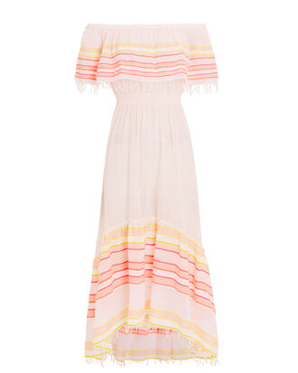 Eskedar Off-The-Shoulder Striped Dress, BLUSH/YELLOW, hi-res