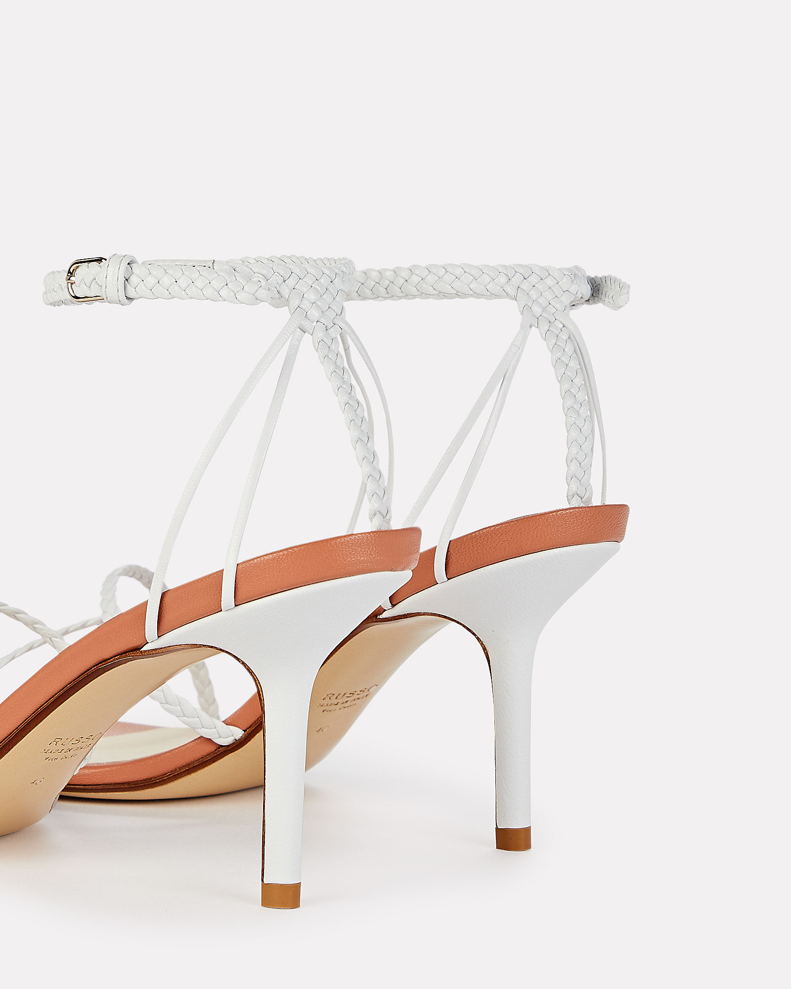 Braided Leather Stiletto Sandals, WHITE, hi-res